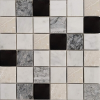 2 x 2 Mosaic Tile Imperial Carrara Light Grey Bottichino Mixed