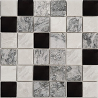 2 x 2 Mosaic Tile Whole Blanc Light Grey Black Mixed