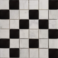 2 x 2 Mosaic Tile Imperial Carrara and Absolute Black