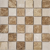 2 x 2 Mosaic Tile Bottichino with Emparador Light Checkerboard