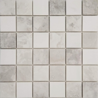 2 x 2 Mosaic Tile White Marble Mixed