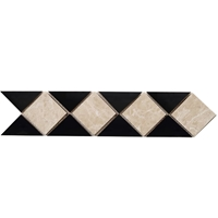 Border Triangle Mosaic Tile Bottichino with Absolute Black Border mosaic, accent tile, bottichino, absolute black
