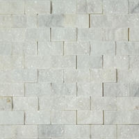 1 X 2 Split Face Mosaic Tile White Marble Honed