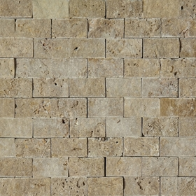 1 X 2 Split Face Mosaic Tile Noche Brown Travertine Honed