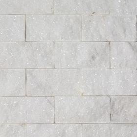 2 X 4 Split Face Mosaic Tile White Marble Honed