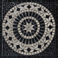 Medallion Mosaic Tile Black and Tundra Grey Marble Polished