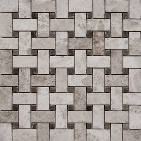 Basketweave Tile Mosaic Tundra Grey