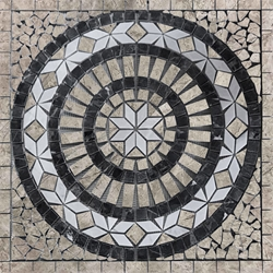 Medallion Mosaic Tile Tundra Grey White Black Marble Polished