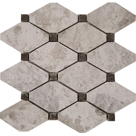 Long Octagon Tile Mosaic Tundra Grey With Dusky Emperador Dot