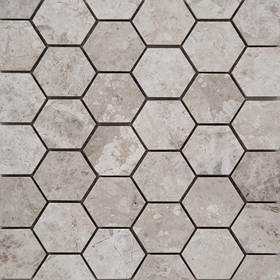 2 Inch Hexagon Mosaic Tile Tundra Grey Marble Polished