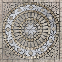 Medallion Mosaic Tile Tundra Grey White Emperador Marble Polished