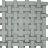Basketweave Mosaic Tile White Marble Polished