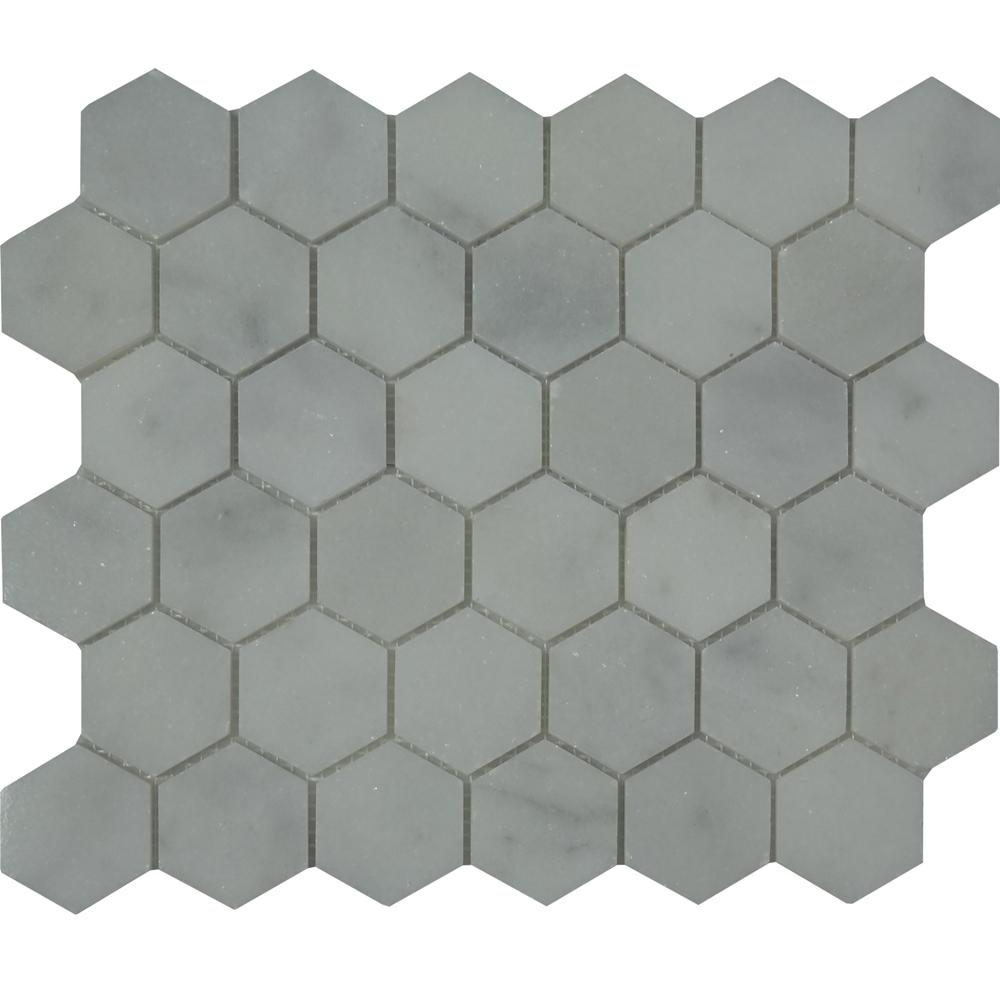 Honed Hexagon Mosaic White Marble