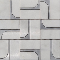 2 x4 Custom Design Jet Mosaic Tile White and Grey Marble