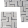 2 x4 Custom Design Jet Mosaic Tile White and Grey Marble - 24JMTWG323