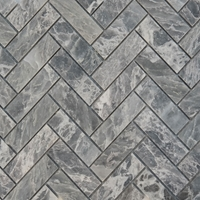 Herringbone Mosaic Tile White Grey Marble Polished