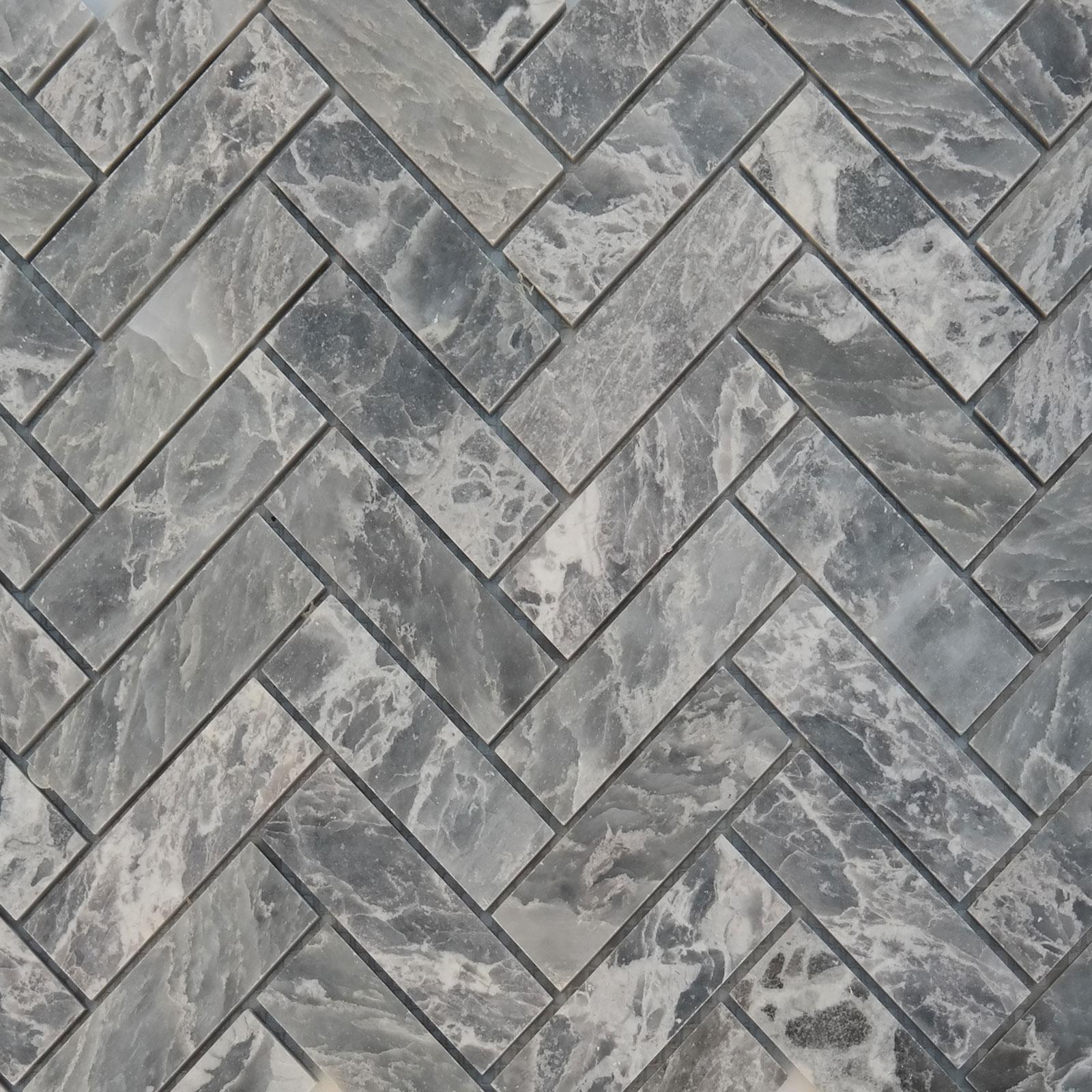 Herringbone Mosaic Grey Stone