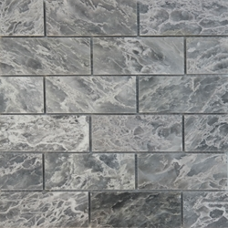 2 x 4 Mosaic Tile White Grey Marble Polished
