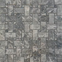 Basketweave Mosaic Tile White Grey Marble Polished