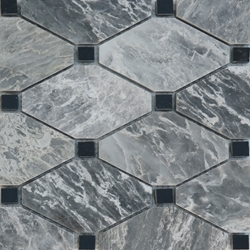 Boliche Mosaic Tile White Grey Black Marble Polished