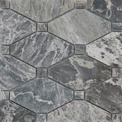 Boliche Mosaic Tile White Grey Marble Polished
