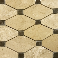 Boliche Mosaic Tile Beige Marfil Marble D Emperador