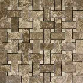 Basketweave Mosaic Tile Emperador Light Beige Marble Polished