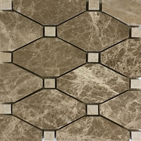 Diamond Mosaic Tile Emperador Light Beige Marble Polished Long Octagon Mosaic