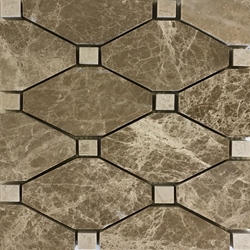 Boliche Mosaic Tile Emperador Light Beige Marble Polished Long Octagon Mosaic