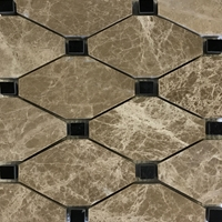 Diamond Mosaic Tile Emperador Light Black Marble Polished Long Octagon Mosaic