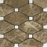 Diamond Mosaic Tile Emperador Light White Marble Polished Long Octagon Mosaic