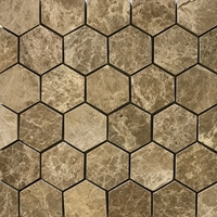 2 Inch Hexagon Mosaic Tile Emperador Light Marble Polished