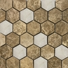 2 Inch Hexagon Mosaic Tile Emperador Light White Marble Polished