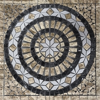 Medallion Mosaic Tile Emperador White Black Marble Polished