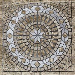 Medallion Mosaic Tile Emperador White Grey Marble Polished
