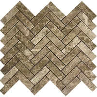 Herringbone Mosaic Tile Emperador Light Marble Polished