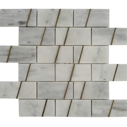 2 x4 Custom Design Mosaic Tile Imperial Carrara Marble Brass Liner