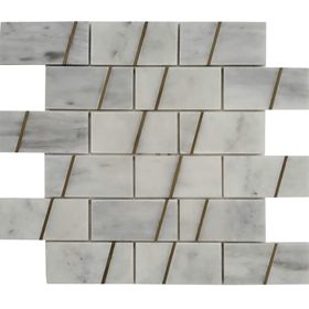 2 x4 Custom Design Mosaic Imperial Carrara Brass Liner