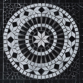 Medallion Mosaic Tile Black and Carrara White Marble Polished
