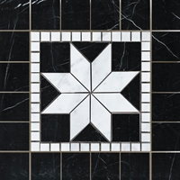 Medallion Mosaic Carrara and Black Marble 12 x 12