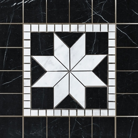Medallion Mosaic Tile  Imperial Carrara and Black Marble Polished