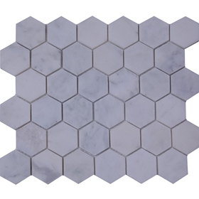 2 Inch Hexagon Mosaic Tile Imperial Carrara Marble Polished