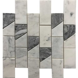 2 x 4 Cross Mosaic Imperial Carrara With Bardigllio