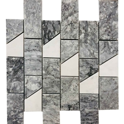 2 x 4 Cross Mosaic Imperial Carrara With Bardigllio (Model 2)