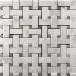 Basketweave Tile Mosaic Imperial Carrara Grey Dot