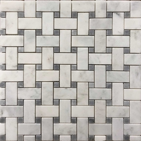 Honed Basketweave Tile Mosaic Imperial Carrara Grey Dot
