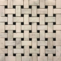 Basketweave Tile Mosaic Imperial Carrara Black Dot