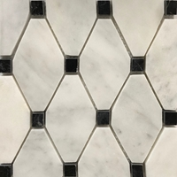 Honed Long Octagon Tile Mosaic Imperial Carrara With Black Dot