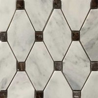 Honed Long Octagon Mosaic Imperial Carrara D. Emperador