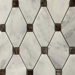 Long Octagon Tile Mosaic Imperial Carrara With Dark Emperador Dot